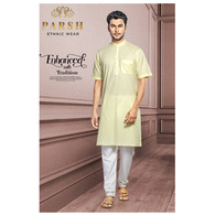 S H A H I T A J Traditional Barati/Groom/Social Occasions Half Sleeves Cotton Kurta with Pajama for Adults (MW810)