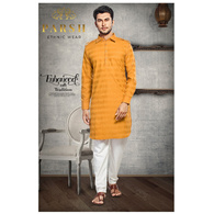 S H A H I T A J Traditional Barati/Groom/Social Occasions Pathani Cotton Kurta with Pajama for Adults (MW812)