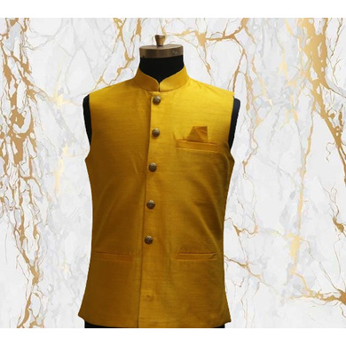 S H A H I T A J Traditional Barati/Groom/Social Occasions Silk Mustard Nehru Jacket or Kothi for Adults (MW799)-ST919_36