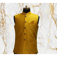S H A H I T A J Traditional Barati/Groom/Social Occasions Silk Mustard Nehru Jacket or Kothi for Adults (MW799)