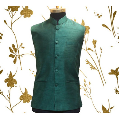 S H A H I T A J Traditional Barati/Groom/Social Occasions Silk Dark Green Nehru Jacket or Kothi for Adults (MW800)-ST920_36