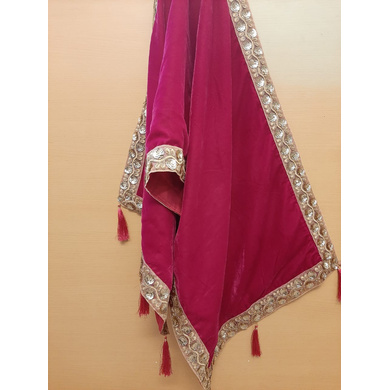 S H A H I T A J Traditional Rajasthani Wedding Rani Velvet Stole/Dupatta/Shawl for Groom or Dulha (DS813)-Free Size-1
