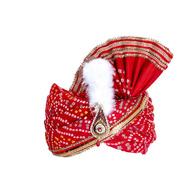 S H A H I T A J Traditional Rajasthani Red Bandhej Cotton Mahakal Bhagwan Pagdi Safa or Turban for God's Idol/Kids/Adults (RT632)