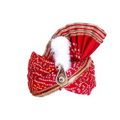 S H A H I T A J Traditional Rajasthani Red Bandhej Cotton Mahakal Bhagwan Pagdi Safa or Turban for God's Idol/Kids/Adults (RT632)-ST758_Adults