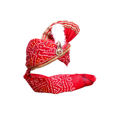 S H A H I T A J Traditional Rajasthani Red Bandhej Cotton Mahakal Bhagwan Pagdi Safa or Turban for God's Idol/Kids/Adults (RT632)-For Miniature God's Idol (3 inches to 16 inches)-3