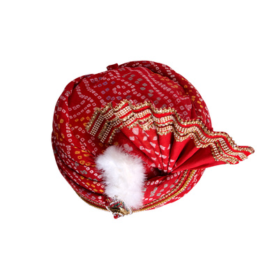 S H A H I T A J Traditional Rajasthani Red Bandhej Cotton Mahakal Bhagwan Pagdi Safa or Turban for God's Idol/Kids/Adults (RT632)-For Miniature God's Idol (3 inches to 16 inches)-4