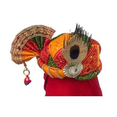 S H A H I T A J Traditional Rajasthani Multi-Colored Mock Fabric Krishna Bhagwan Pagdi Safa or Turban for God's Idol/Kids/Adults (RT307)-ST460_Mini