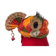 S H A H I T A J Traditional Rajasthani Multi-Colored Mock Fabric Krishna Bhagwan Pagdi Safa or Turban for God's Idol/Kids/Adults (RT307)