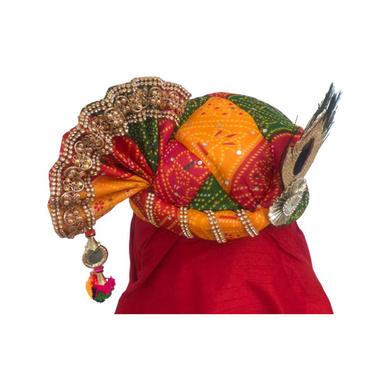 S H A H I T A J Traditional Rajasthani Multi-Colored Mock Fabric Krishna Bhagwan Pagdi Safa or Turban for God's Idol/Kids/Adults (RT307)-For Miniature God's Idol (3 inches to 16 inches)-4