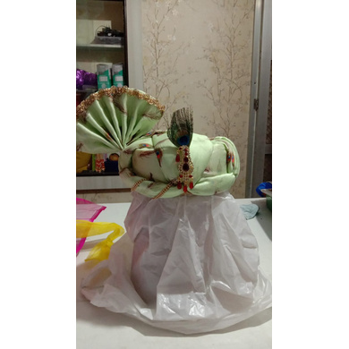 S H A H I T A J Traditional Rajasthani Pista Green Color Mock Fabric Krishna Bhagwan Pagdi Safa or Turban for God's Idol/Kids/Adults (RT306)-ST459_Adults