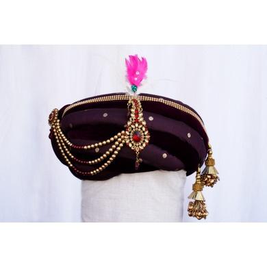 S H A H I T A J Traditional Rajasthani Purple Velvet & Brocade Bhagwan ki Pagdi Safa or Turban for God's Idol/Kids/Adults (RT281)-ST368_Mini