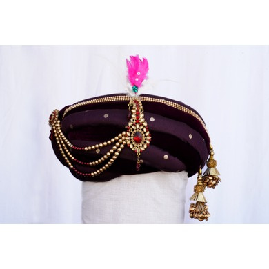 S H A H I T A J Traditional Rajasthani Purple Velvet & Brocade Bhagwan ki Pagdi Safa or Turban for God's Idol/Kids/Adults (RT281)-ST368_Adults