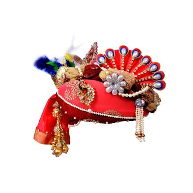 S H A H I T A J Traditional Rajasthani Multi-Colored Net & Brocade Krishna Bhagwan Pagdi Safa or Turban for God's Idol/Kids/Adults (RT299)-ST402_Mini