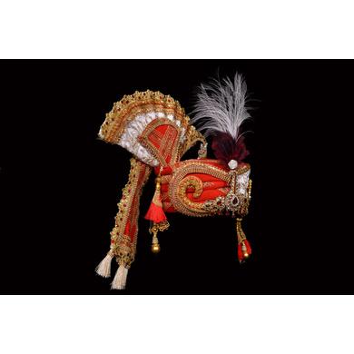 S H A H I T A J Traditional Rajasthani Brocade Multi-Colored Bhagwan ki Pagdi Safa or Turban for God's Idol/Kids/Adults (RT289)-For Miniature God's Idol (3 inches to 16 inches)-3