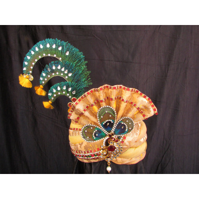 S H A H I T A J Traditional Rajasthani Multi-Colored Brocade Krishna Bhagwan Pagdi Safa or Turban for God's Idol/Kids/Adults (RT312)-ST428_Large