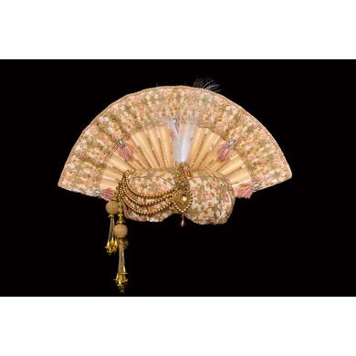 S H A H I T A J Traditional Rajasthani Peach Brocade & Silk Bhagwan ki Pagdi Safa or Turban for God's Idol/Kids/Adults (RT297)-ST398_Large