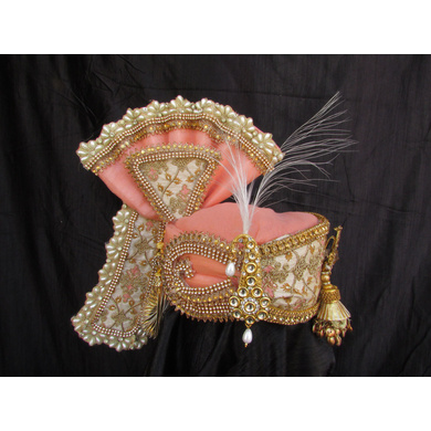 S H A H I T A J Traditional Rajasthani Peach Color Brocade & Silk Bhagwan ki Pagdi Safa or Turban for God's Idol/Kids/Adults (RT313)-ST466_Mini