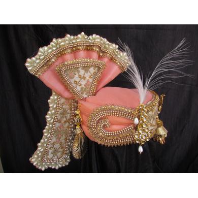 S H A H I T A J Traditional Rajasthani Peach Color Brocade & Silk Bhagwan ki Pagdi Safa or Turban for God's Idol/Kids/Adults (RT313)-For Miniature God's Idol (3 inches to 16 inches)-4