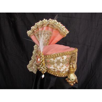 S H A H I T A J Traditional Rajasthani Peach Color Brocade & Silk Bhagwan ki Pagdi Safa or Turban for God's Idol/Kids/Adults (RT313)-For Miniature God's Idol (3 inches to 16 inches)-3