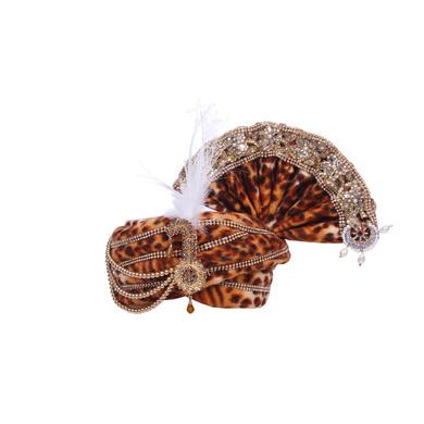 S H A H I T A J Traditional Rajasthani Brown Velvet Mahakal Bhagwan Pagdi Safa or Turban for Mahashivratri for God's Idol/Kids/Adults (RT573)-ST695_Mini