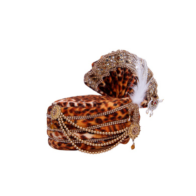 S H A H I T A J Traditional Rajasthani Brown Velvet Mahakal Bhagwan Pagdi Safa or Turban for Mahashivratri for God's Idol/Kids/Adults (RT573)-For Miniature God's Idol (3 inches to 16 inches)-3