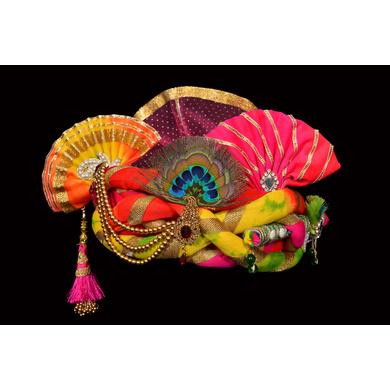 S H A H I T A J Traditional Rajasthani Silk Multi-Colored Krishna Bhagwan Pagdi Safa or Turban for God's Idol/Kids/Adults (RT298)-ST451_Adults