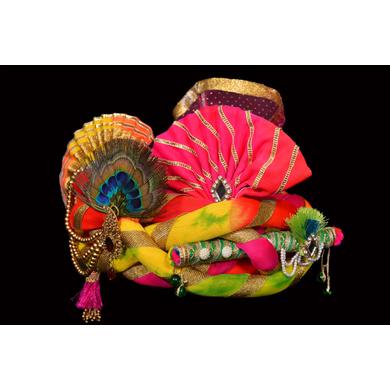 S H A H I T A J Traditional Rajasthani Silk Multi-Colored Krishna Bhagwan Pagdi Safa or Turban for God's Idol/Kids/Adults (RT298)-For Miniature God's Idol (3 inches to 16 inches)-4