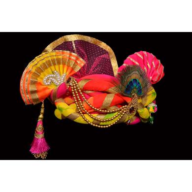 S H A H I T A J Traditional Rajasthani Silk Multi-Colored Krishna Bhagwan Pagdi Safa or Turban for God's Idol/Kids/Adults (RT298)-For Miniature God's Idol (3 inches to 16 inches)-3