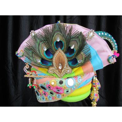 S H A H I T A J Traditional Rajasthani Multi-Colored Silk Krishna Bhagwan Pagdi Safa or Turban for God's Idol/Kids/Adults (RT305)-ST414_Mini