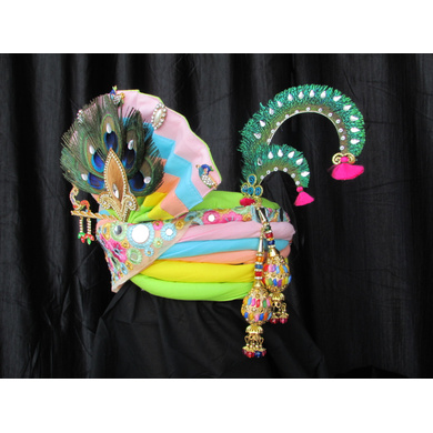 S H A H I T A J Traditional Rajasthani Multi-Colored Silk Krishna Bhagwan Pagdi Safa or Turban for God's Idol/Kids/Adults (RT305)-For Miniature God's Idol (3 inches to 16 inches)-4
