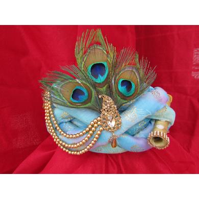 S H A H I T A J Traditional Rajasthani Blue Silk Printed Krishna Bhagwan Pagdi Safa or Turban for God's Idol/Kids/Adults (RT303)-ST456_Adults