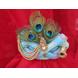 S H A H I T A J Traditional Rajasthani Blue Silk Printed Krishna Bhagwan Pagdi Safa or Turban for God's Idol/Kids/Adults (RT303)-ST456_Adults-sm