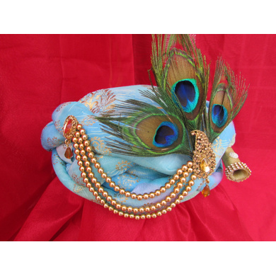 S H A H I T A J Traditional Rajasthani Blue Silk Printed Krishna Bhagwan Pagdi Safa or Turban for God's Idol/Kids/Adults (RT303)-For Miniature God's Idol (3 inches to 16 inches)-4