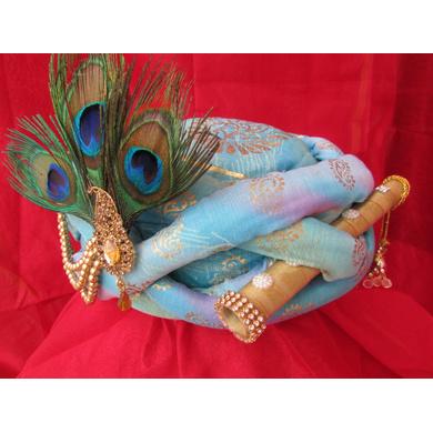 S H A H I T A J Traditional Rajasthani Blue Silk Printed Krishna Bhagwan Pagdi Safa or Turban for God's Idol/Kids/Adults (RT303)-For Miniature God's Idol (3 inches to 16 inches)-3