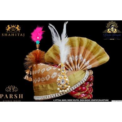 S H A H I T A J Traditional Rajasthani Multi-Colored Silk Bhagwan ki Pagdi Safa or Turban for God's Idol/Kids/Adults (RT279)-ST364_Mini