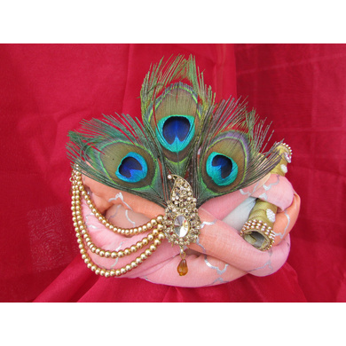 S H A H I T A J Traditional Rajasthani Peach Silk Printed Krishna Bhagwan Pagdi Safa or Turban for God's Idol/Kids/Adults (RT301)-ST406_Adults