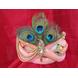 S H A H I T A J Traditional Rajasthani Peach Silk Printed Krishna Bhagwan Pagdi Safa or Turban for God's Idol/Kids/Adults (RT301)-ST406_Adults-sm