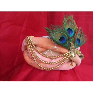 S H A H I T A J Traditional Rajasthani Peach Silk Printed Krishna Bhagwan Pagdi Safa or Turban for God's Idol/Kids/Adults (RT301)-For Miniature God's Idol (3 inches to 16 inches)-4