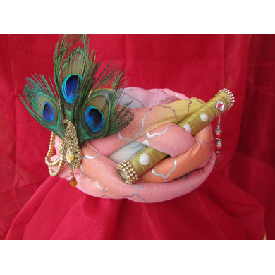 S H A H I T A J Traditional Rajasthani Peach Silk Printed Krishna Bhagwan Pagdi Safa or Turban for God's Idol/Kids/Adults (RT301)-For Miniature God's Idol (3 inches to 16 inches)-3