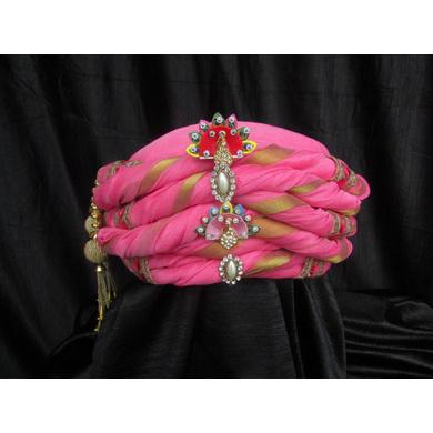 S H A H I T A J Traditional Rajasthani Pink Silk Bhagwan ki Pagdi Safa or Turban for God's Idol/Kids/Adults (RT310)-ST424_Mini