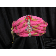 S H A H I T A J Traditional Rajasthani Pink Silk Bhagwan ki Pagdi Safa or Turban for God's Idol/Kids/Adults (RT310)