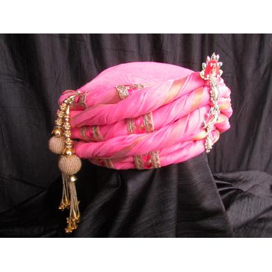 S H A H I T A J Traditional Rajasthani Pink Silk Bhagwan ki Pagdi Safa or Turban for God's Idol/Kids/Adults (RT310)-For Miniature God's Idol (3 inches to 16 inches)-4