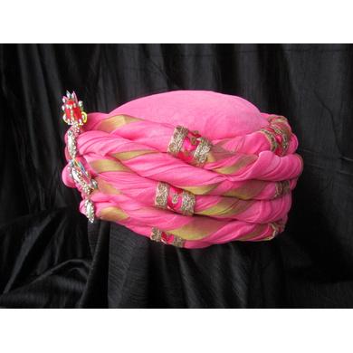 S H A H I T A J Traditional Rajasthani Pink Silk Bhagwan ki Pagdi Safa or Turban for God's Idol/Kids/Adults (RT310)-For Miniature God's Idol (3 inches to 16 inches)-3