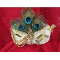 S H A H I T A J Traditional Rajasthani White Silk Printed Krishna Bhagwan Pagdi Safa or Turban for God's Idol/Kids/Adults (RT302)