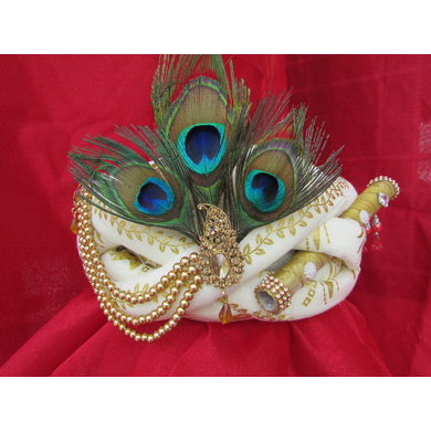 S H A H I T A J Traditional Rajasthani White Silk Printed Krishna Bhagwan Pagdi Safa or Turban for God's Idol/Kids/Adults (RT302)-ST408_Adults