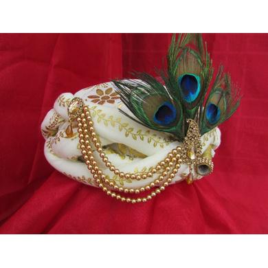 S H A H I T A J Traditional Rajasthani White Silk Printed Krishna Bhagwan Pagdi Safa or Turban for God's Idol/Kids/Adults (RT302)-For Miniature God's Idol (3 inches to 16 inches)-3