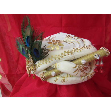 S H A H I T A J Traditional Rajasthani White Silk Printed Krishna Bhagwan Pagdi Safa or Turban for God's Idol/Kids/Adults (RT302)-For Miniature God's Idol (3 inches to 16 inches)-4