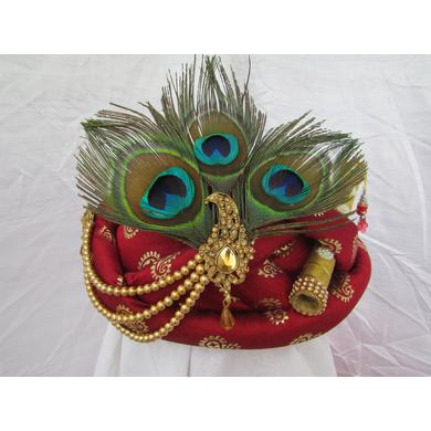 S H A H I T A J Traditional Rajasthani Maroon Silk Printed Krishna Bhagwan Pagdi Safa or Turban for God's Idol/Kids/Adults (RT300)-ST404_Adults