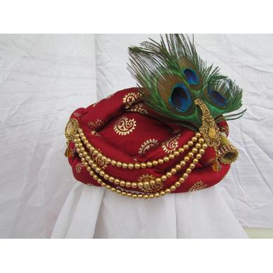 S H A H I T A J Traditional Rajasthani Maroon Silk Printed Krishna Bhagwan Pagdi Safa or Turban for God's Idol/Kids/Adults (RT300)-For Miniature God's Idol (3 inches to 16 inches)-4