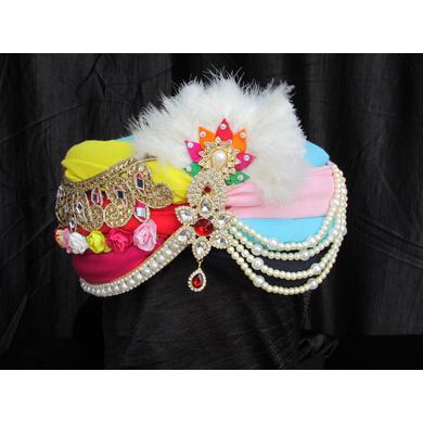S H A H I T A J Traditional Rajasthani Multi-Colored Silk Bhagwan ki Pagdi Safa or Turban for God's Idol/Kids/Adults (RT309)-ST422_Mini